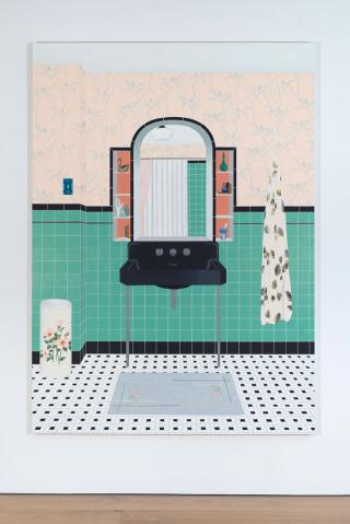 Becky Suss. Bathroom (Ming Green), 2016. Oil on canvas, 84 x 60 in. Courtesy Jack Shainman Gallery.