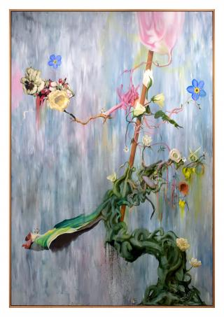 Keith Tyson. Ikebana - Waterfall Stage (Boss Level), 2018. Oil on aluminium, 247.7 x 171.5 cm (97 1/2 x 67 1/2 in) (framed). © Keith Tyson. Courtesy of the artist and Hauser & Wirth.