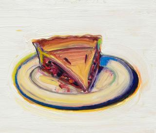 Wayne Thiebaud. Cherry Pie, 2016. Oil on paper mounted on board, 8 1/2 x 10 in (21.6 x 25.4 cm). © Wayne Thiebaud/DACS, London/VAGA, New York 2017.