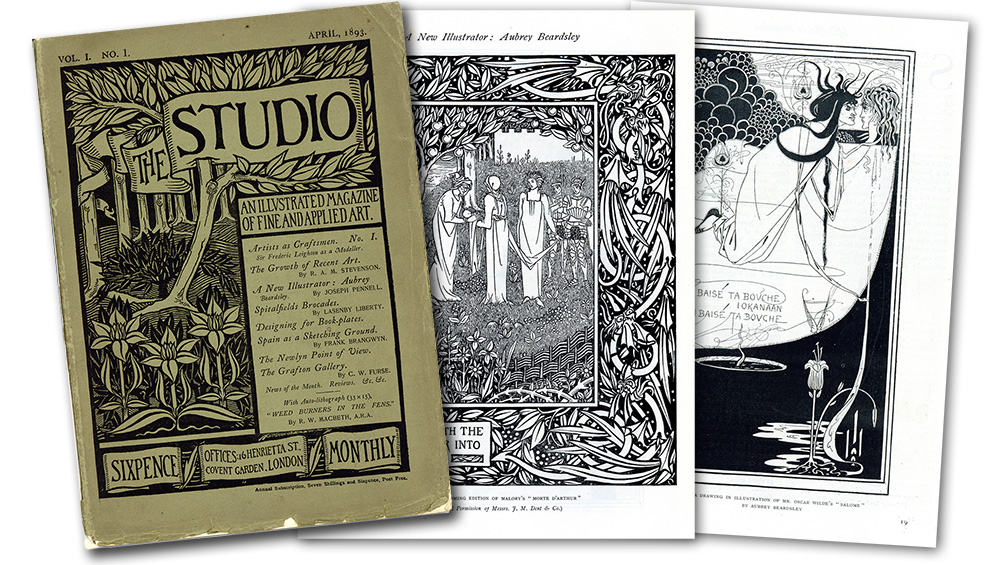 The Studio: An Illustrated Magazine of Fine and Applied Art was first published in April 1893. It introduced the young illustrator Aubrey Beardsley to the world and quickly became the world's most successful art magazine.