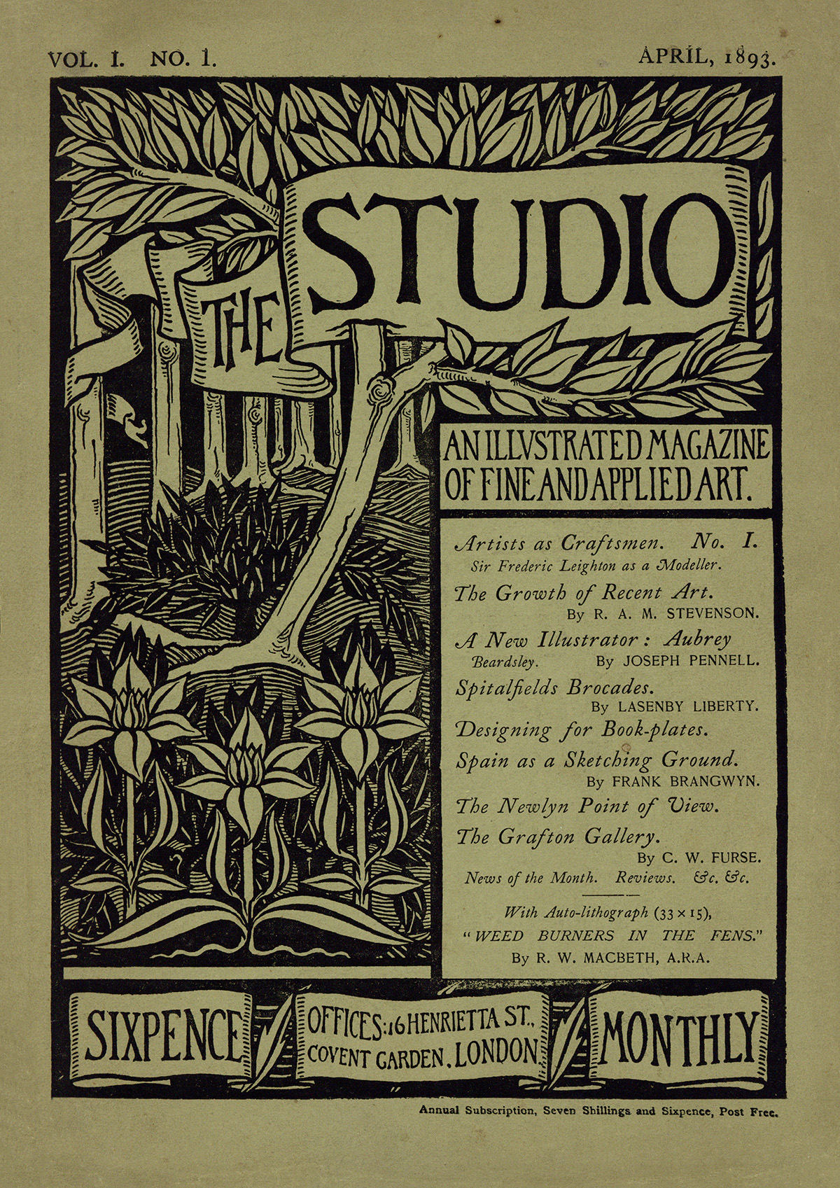 The Studio: An Illustrated Magazine of Fine and Applied Art, Vol 1, No 1, April 1893.