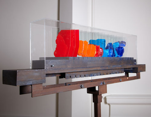 Ainslie Yule. <em>Colour Piece</em>, 2010. Glass/wood/pigment/steel, 104 cm(L) x 12 cm(W) x 26 cm(H). Copyright the artist. Image credit RSA.