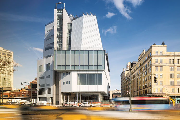 The Whitney Museum, New York, designed by Renzo Piano, as seen from the west. Photo: Photo Nic Lehoux. © RPBW - Renzo Piano Building Workshop Architects. Page 182.