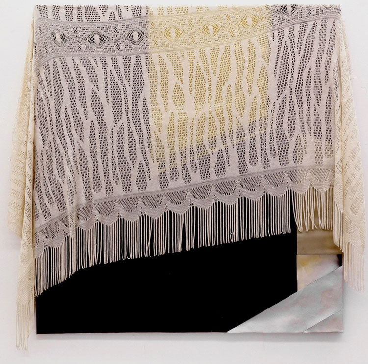 Kai Althoff. Untitled, 2005. Fabric, enamel, spray and oil paint, plastic adhesive foil, 95.3 x 86.4 cm.