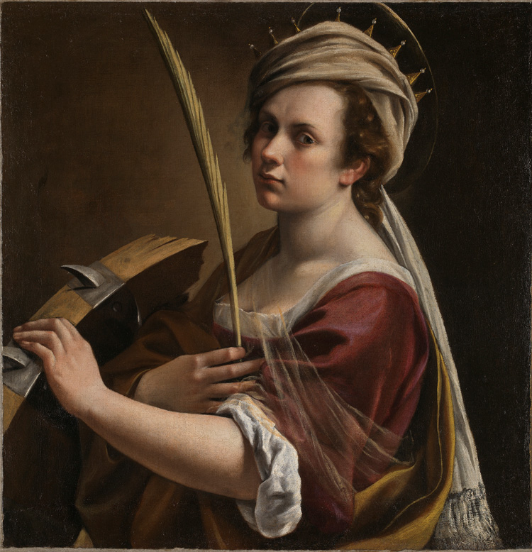 Artemisia Gentileschi. Self Portrait as Saint Catherine of Alexandria, c1615-17. Oil on canvas, 71.4 × 69 cm. © The National Gallery, London.