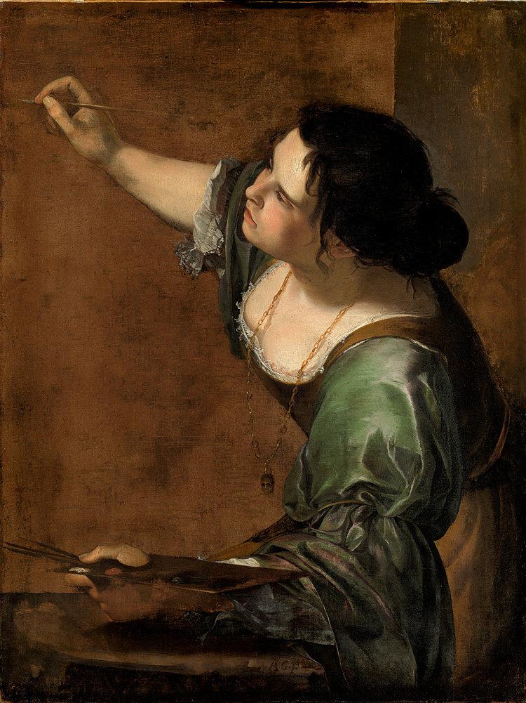Artemisia Gentileschi. Self Portrait as the Allegory of Painting (La Pittura), c1638-9. Oil on canvas, 98.6 × 75.2 cm. Royal Collection Trust / HM The Queen (405551). Royal Collection Trust / © Her Majesty Queen Elizabeth II 2019.