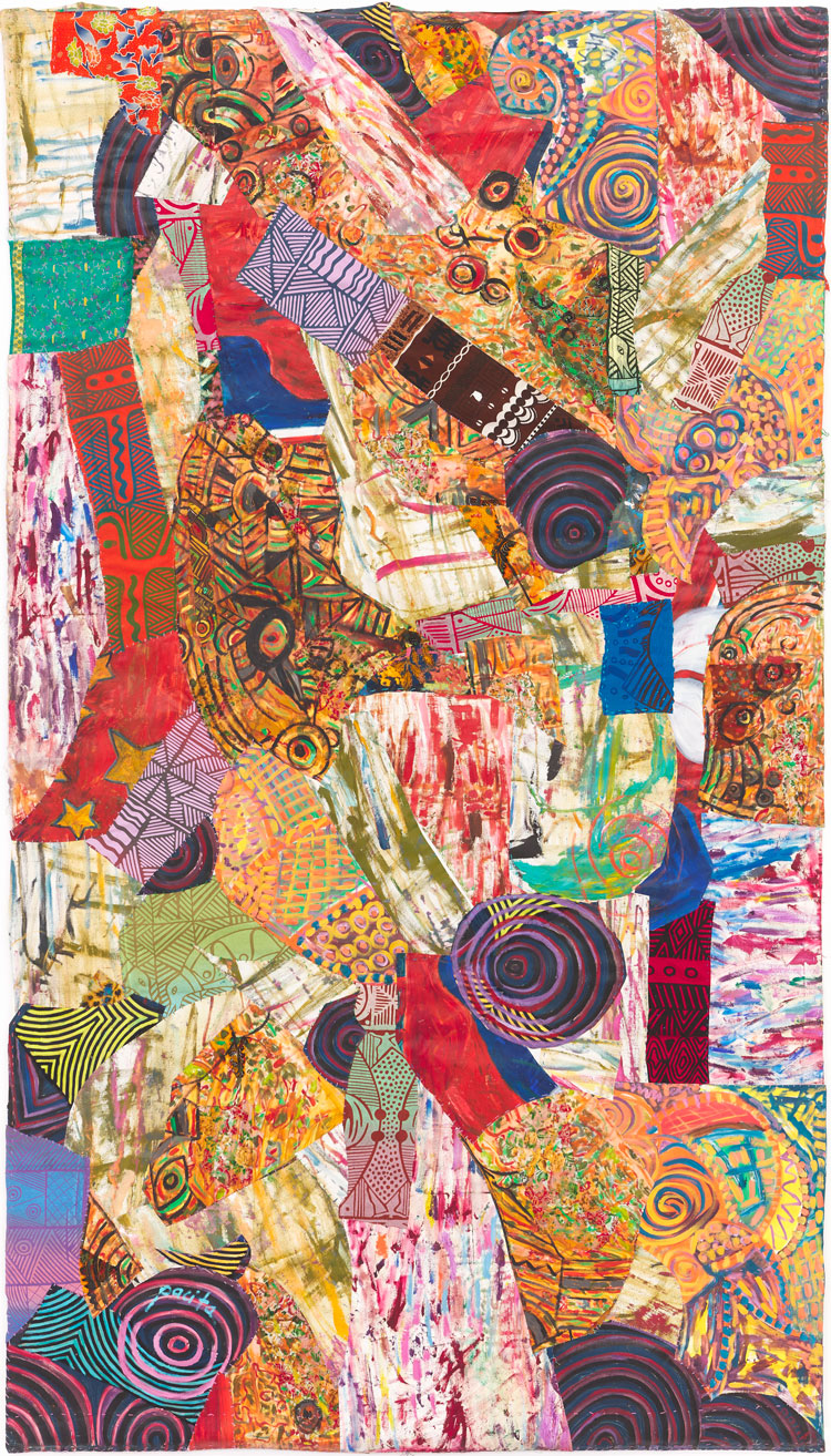 Pacita Abad, Life in the Margins, 2002. Oil, printed cloth, painted cloth stitched on canvas. Work courtesy the Pacita Abad Art Estate. Photo: Max McClure, courtesy Spike Island.