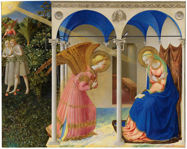 Fra Angelico. Annunciation and Expulsion of Adam and Eve from Eden, c1425–26. Tempera and gold on panel, 190.3 x 191.5 cm. Madrid, Museo Nacional del Prado.