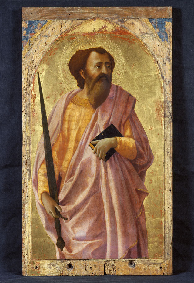 Masaccio. Saint Paul, 1426. Tempera, silver and gold on poplar panel, 60 x 35 cm. Pisa, Polo Museale della Toscana, Museo Nazionale di San Matteo.