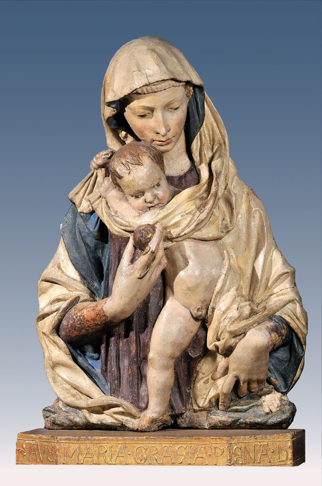 Donatello. Virgin of the Pomegranate, c1420–25. Polychromed terracotta, 90 x 64 x 28 cm. Florence, Musei Civici Fiorentini, Museo Stefano Barding.