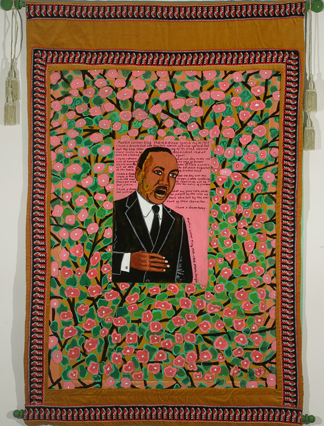 Faith Ringgold, Coming to Jones Road Tanka #3 Martin Luther King, 2010. Acrylic on canvas with pieced fabric border, 65 x 43 in. Photo courtesy the artist and ACA Galleries, New York.