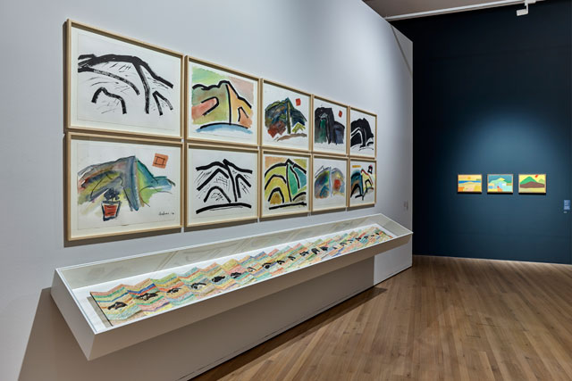 Etel Adnan. Installation view of Mount Tamalpais works. Photo: Rolf Siegenthaler.