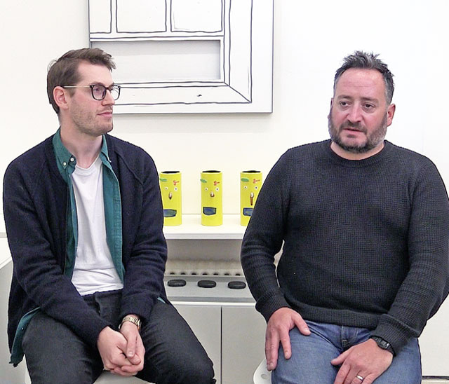 James Edgar and Sam Walker talking to Studio International about Assembly Point, London, 25 April 2018. Photograph: Martin Kennedy.