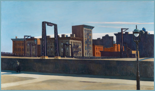Edward Hopper. Manhattan Bridge Loop, 1928. Oil on canvas, 88.9 x 152.4 cm. Addison Gallery of American Art, Phillips Academy, Andover MA. © Heirs of Josephine N. Hopper, licensed by the Whitney Museum of American Art.
