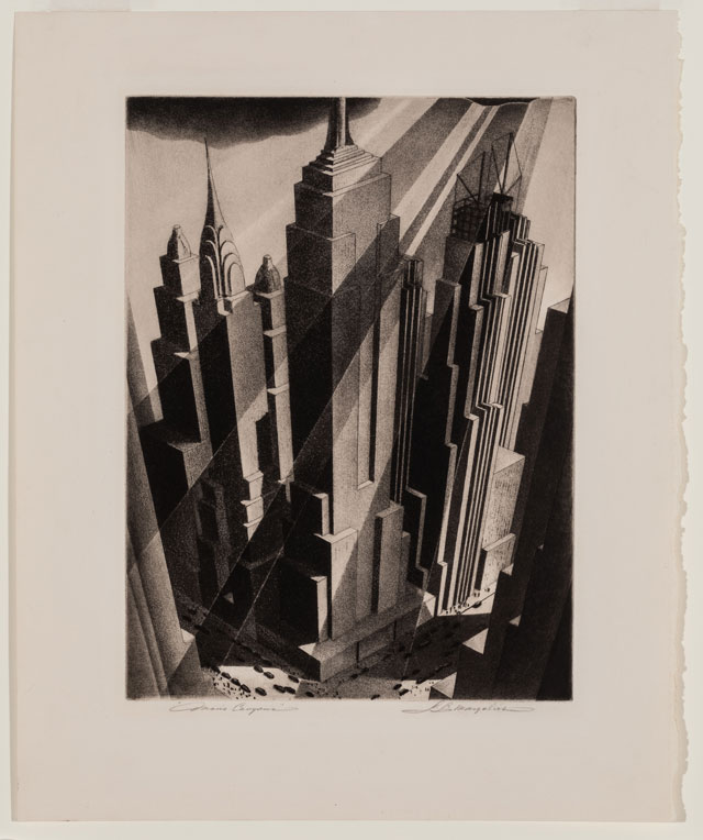 Samuel Margolies. Man's Canyon, 1936. Etching and aquatint on cream laid paper, 40.5 x 32.9 cm. Terra Foundation for American Art. © Estate of the artist.