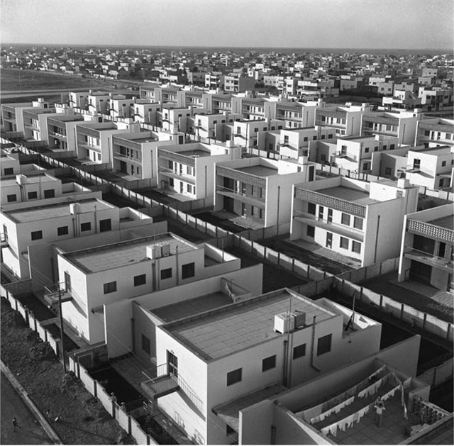 Latif Al Ani. Yarmouk, Housing Project Offices, 1962. B+W digital print on Hahnemühle Baryta Fine Art paper, 25 x 25 cm. © The artist and the Arab Image Foundation, Courtesy the Ruya Foundation.