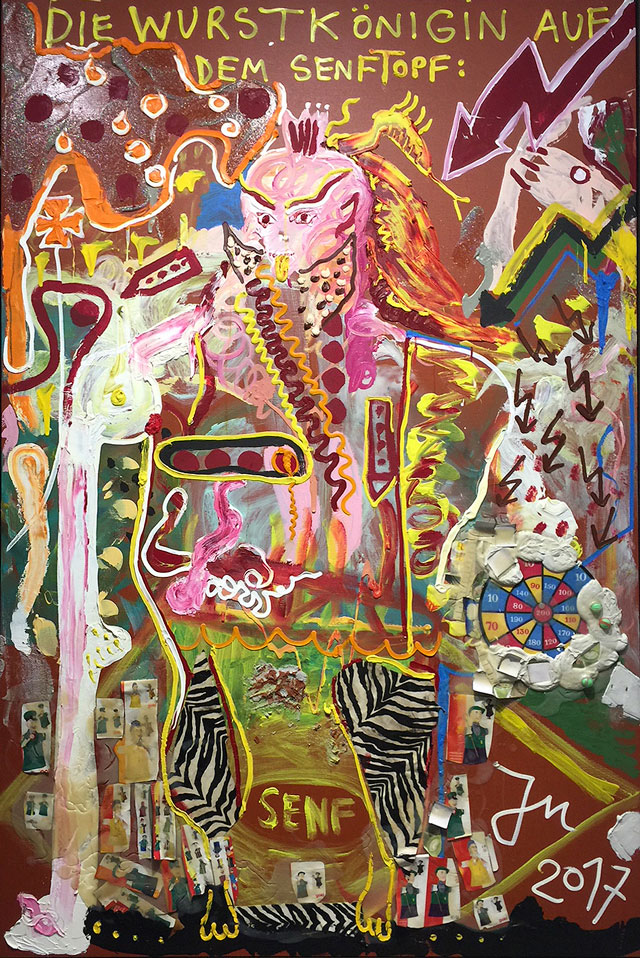 Jonathan Meese. Dr. Loch Nessie Lebt Auf Dem Mond, 2017. Oil, acrylic, acrylic modelling paste, Caparol-dispersion binder, acrylic gel, acrylic paste and mixed media on canvas, 106 7/16 x 71 x 1 5/16 in. David Nolan, New York. Photograph: Jill Spalding.