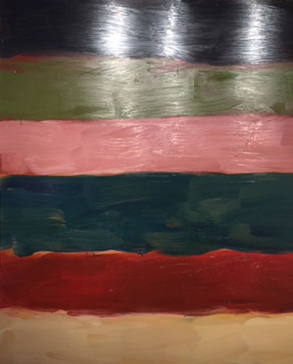 Sean Scully. Landline That Pink, 2017. Oil on aluminium, 216 x 190.5 x 5 cm. Photograph: Jill Spalding.