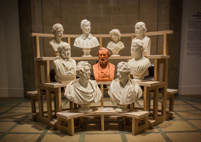 Ages of Wonder – Scotland's Art 1540 to now, installation view, Sculpture Court (east). Bust display.