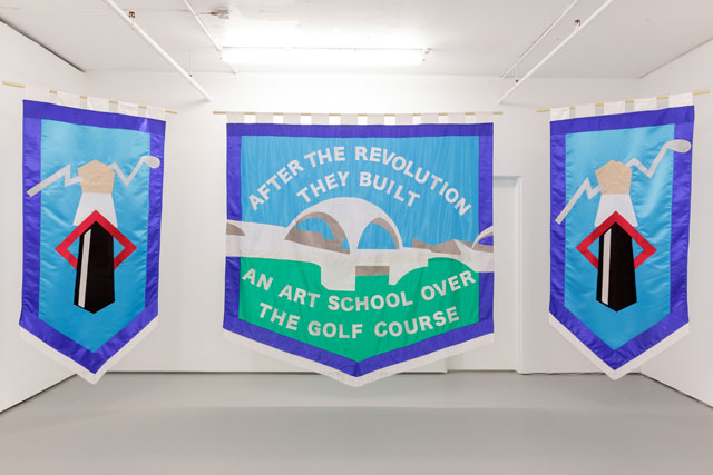 Chris Alton. After The Revolution They Built An Art School Over The Golf Course, 2017. Textiles, 215 x 105 cm, 225 x 220 cm, 215 x 105 cm. Image courtesy of Tim Bowditch.