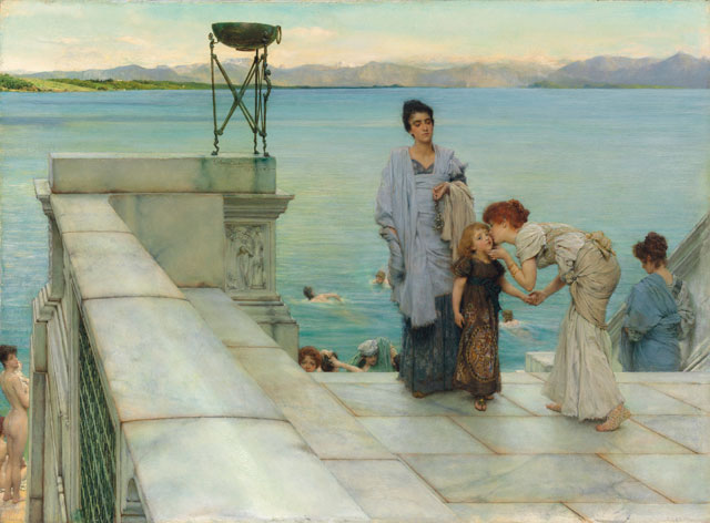 Sir Lawrence Alma-Tadema. A Kiss, 1891. Oil on panel, 45.7 x 62.7 cm. © Private Collection of Martin Beisly.