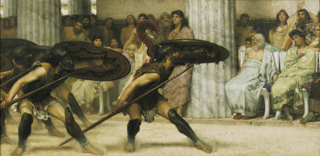 Sir Lawrence Alma-Tadema. A Pyrrhic Dance, 1869. Oil on panel, 40.6 x 81.3 cm. © Guidhall Art Gallery, City of London.