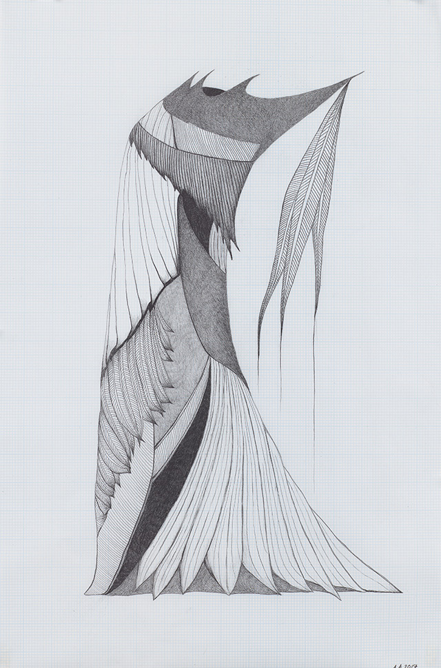 Afruz Amighi. Headdress for an Empress (drawing), 2017. Graphite on graph paper, 24 x 16 in (61 x 41 cm). Photograph: Studio Suarez. Copyright 2017. Courtesy of Leila Heller Gallery.