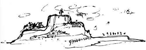 Alvar Aalto. Topographical reference for Viipuri Library: Aalto's sketch of a fantastic mountain which was the inspiration for the stepped section of the Viipuri Library reading room.