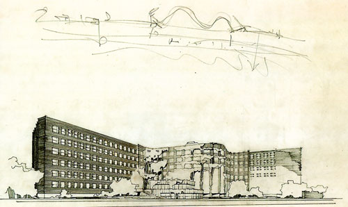 Alvar Aalto. Baker House, MIT (1949), perspective of river elevation (1947).
