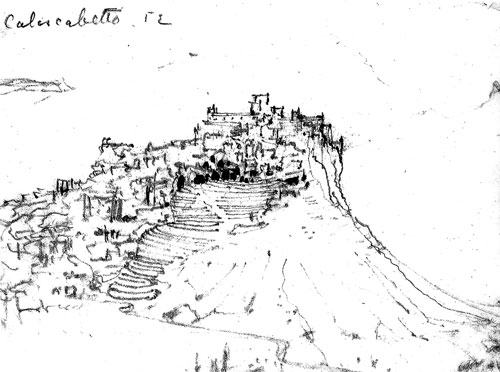 Alvar Aalto. Topographical reference for Mount Angel Library: Sketch of Calascibetta, Sicily (1952).