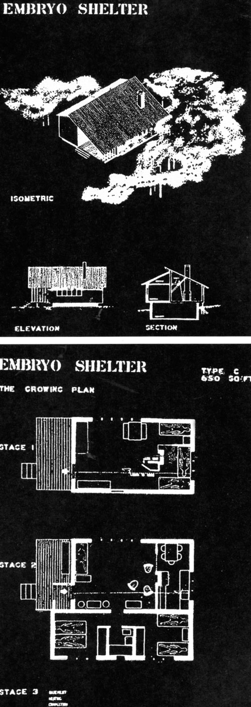 Architectural design research with MIT students: drawing of expandable housing prototype (1940).