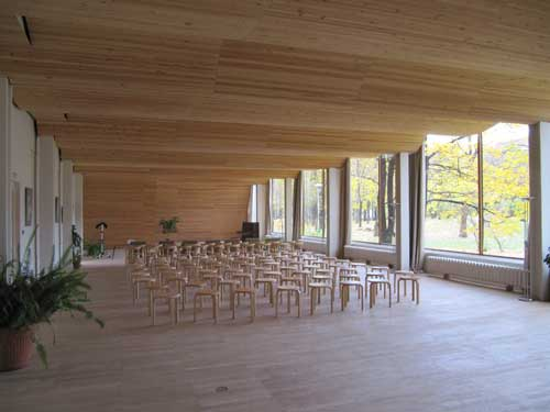 Alvar Aalto. Viipuri Library. Restored undulating timber ceiling of the Lecture Hall.
