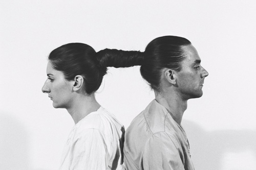 Marina Abramović and Ulay. <em>Relation in Time</em>. Originally performed at 1977 for 17 hours at Studio G7, Bologna. Still from 16mm film transferred to video (black and white, sound). 50:33 minutes.