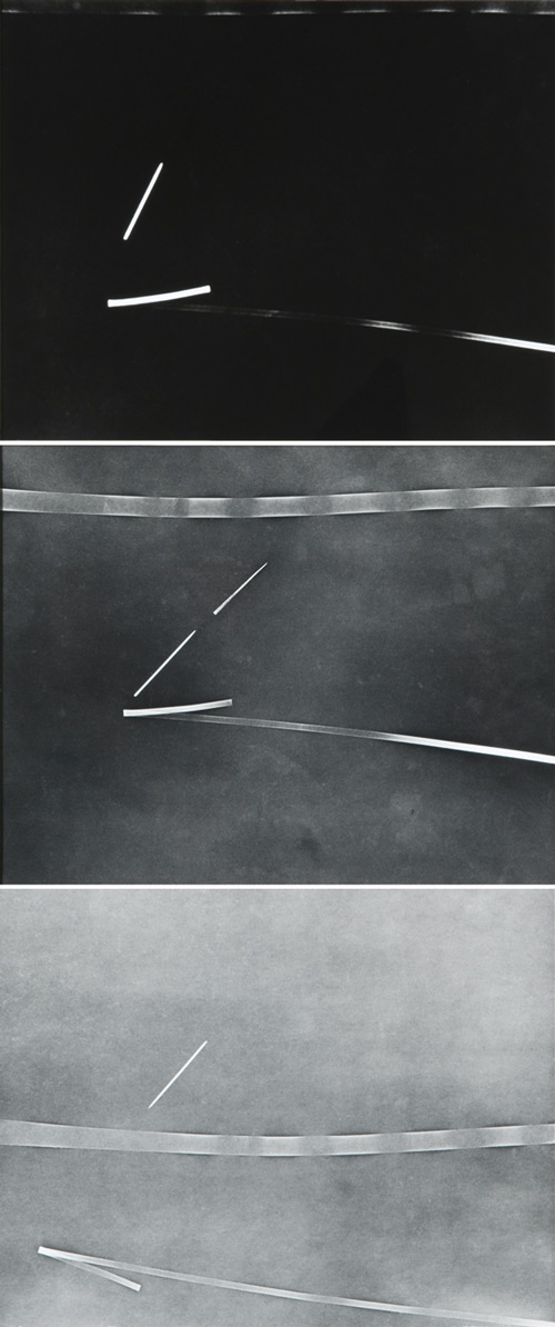 Nasreen Mohamedi. Untitled, ca.1970s. Black and white photograph, 90 x 38 cm (35 3/8 x 15 in). Courtesy of Talwar Gallery, New York and New Delhi.