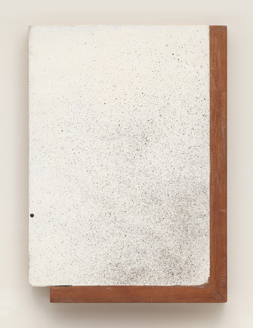 John Latham. 1 Second Drawing, 1971. Spray gun on primed wood, 33.2 x 22.8 cm (13 1/8 x 9 in). Private collection, London. Courtesy John Latham Estate and Lisson Gallery.