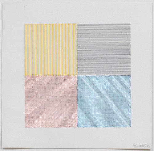 Sol LeWitt. 4 Colour Drawing, 1971. Pen and ink on Bristol board, 32.5 x 32.5 cm (12 3/4 x 12 3/4 in). © Estate of Sol LeWitt. Courtesy Lisson Gallery, London. Photograph: Ken Adlard.