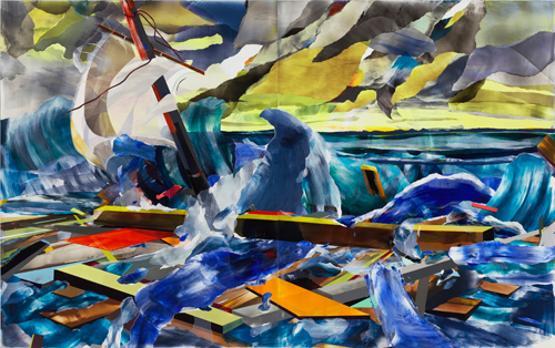 Kirstin Baker. <em>The Raft of Perseus</em> 2006. Acrylic on PVC, 255.3 x 406.4 cm (in two panels). Courtesy of the Saatchi Gallery, London. ©Kirstin Baker, 2009.