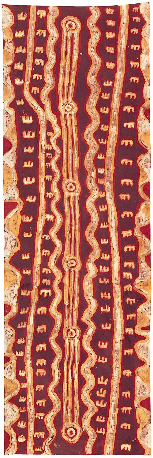 Neville Japangardi Poulson, <em>Janganpa Jukurrpa </em>(<em>M</em><em>arsupial mouse Dreaming</em>), 1986. Batik on cotton, 259.5 x 85.0 cm. National Gallery of Victoria, Melbourne. Presented through The Art Foundation of Victoria by Peter and Thea Toyne, Members, 1995 &copy; Neville Napangardi Poulson Courtesy of Warlukurlangu Artists, NT