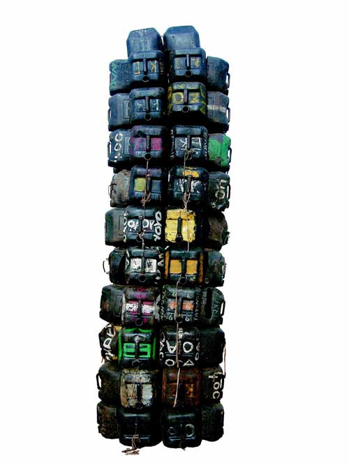Romuald Hazoum&eacute;, <i>Bidon Arm&eacute;</i>, 2004. Mixed media, 