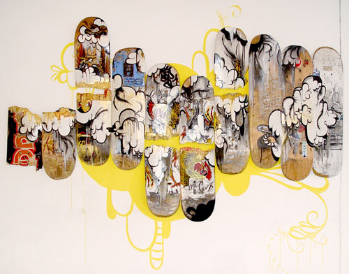 Sofia Maldonado. Cock Fight, 2008. Found skateboards, paint, marker, dimensions variable. Courtesy of the artist; Magnan Metz Gallery, New York. Photograph: Courtesy of the artist; Magnan Metz Gallery, New York.