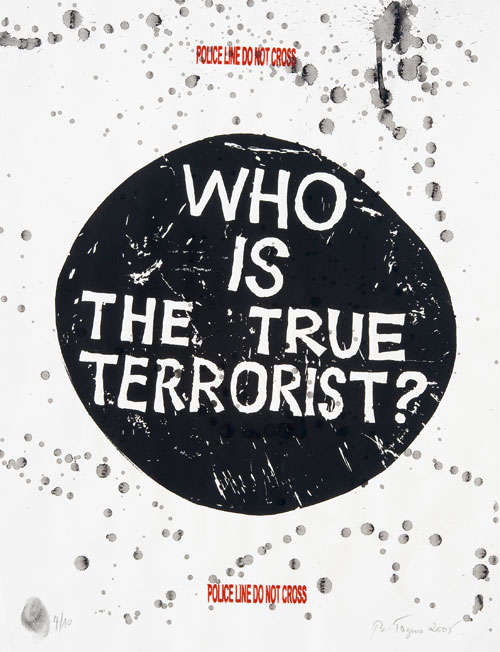 Barthélémy Toguo. Who is the terrorist?, 2005. Stamping and ink on paper, 65 x 50 cm. Edition of 10. © Barthélémy Toguo; Coutesy of Gallery Lelong, Paris. Photograph: Fabrice Gibert.