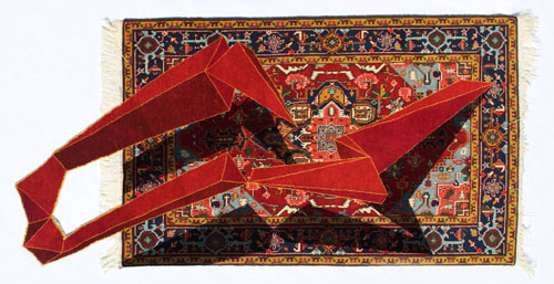 Faig Ahmed. Ilan, 2014. Hand-woven woollen rug, 180 x 230 cm. Image courtesy of the artist and Cuadro Gallery.