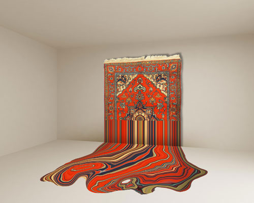 Faig Ahmed. Liquid, 2014. Hand-woven woollen rug, 290 x 400 cm. Image courtesy of the artist and Cuadro Gallery.