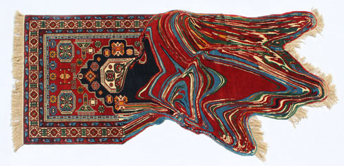 Faig Ahmed. Outflow, 2014. Hand-woven woollen rug, 120x 250 cm. Image courtesy of the artist and Cuadro Gallery.