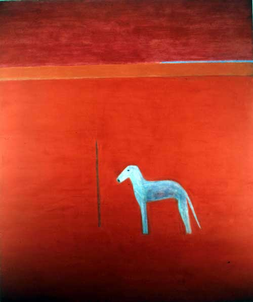 Craigie Aitchison.<i> Dog in Red Painting</i>, 1975 oil on canvas 221 x 