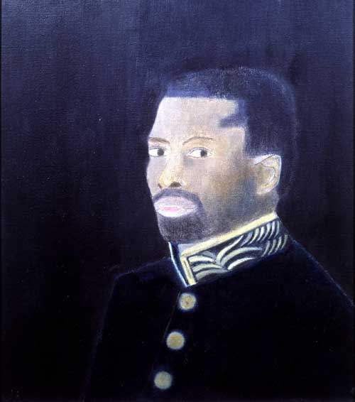 Craigie Aitchison.<i> Georgeous Macaulay in Uniform</i>, 1969, oil on canvas 