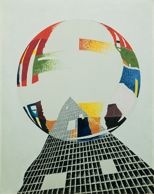 László Moholy-Nagy. <em>Nuclear I,</em> <em>CH</em> 1945. Oil on canvas, 96.5 x 76.6 cm. The Art Institute of Chicago, Gift of Mr and Mrs Leigh B. Block 1947. Copyright holder credit: © 2006 Hattula Moholy-Nagy/DACS. Photography © The Art Institute of Chicago.