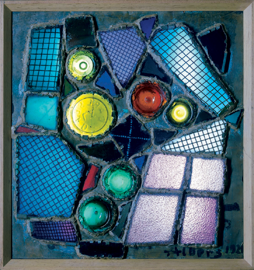 Josef Albers. <em>Rhenish Legend/Rheinische Legende</em> 1921. Assemblage, glass and copper, 49.5 x 44.5 cm. The Metropolitan Museum of Art, Gift of the artist, 1972. Copyright holder credit: © The Josef and Anni Albers Foundation/ VG Bild-Kunst, Bonn and DACS, London 2006. Photographic credit: © 1987 The Metropolitan Museum of Art.
