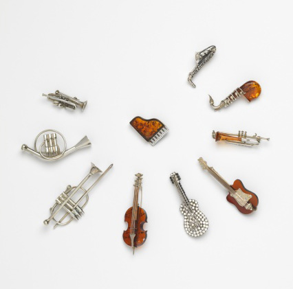 Keith Lipert Gallery; other designers unknown. <em>Amber musical instruments</em>. Photo: John Bigelow Taylor.