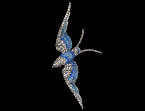 Anton Lachmann, Austria. <em>Blue Bird</em> c. 1880.  14kt yellow gold, silver enamel, rubbies, diamonds. 4.3 x 2 inches. Photo: John Bigelow Taylor.